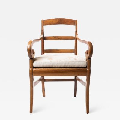 French cherry wood arm chair with rush seat and upholstered seat cushion