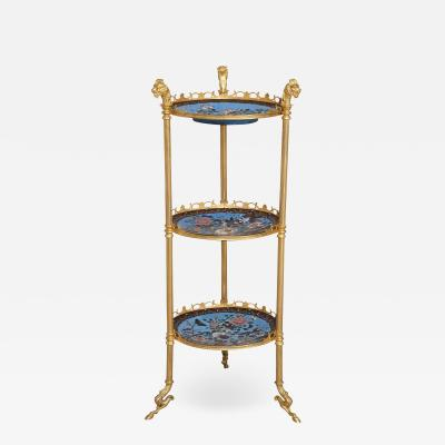 French cloisonn enamel and gilt metal three shelf tiered table in Empire style