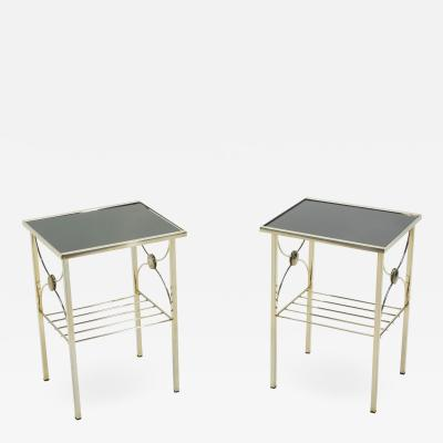 French gilded metal and black opaline glass end tables 1960s