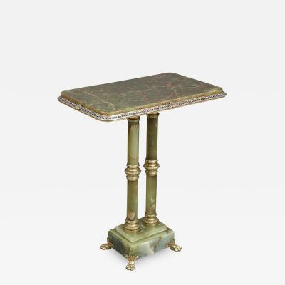 French green onyx side table mounted with gilt bronze and enamel