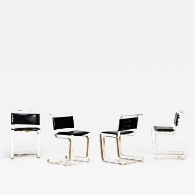 French iron and black leather chairs from the 1960s