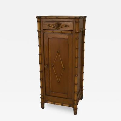 French late 19th Cent faux bamboo pine bedside commode