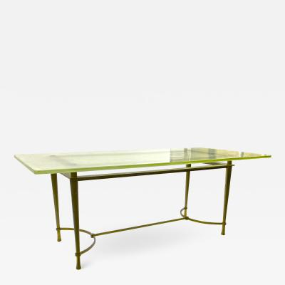 French modernist rarest solid gold bronze and St Gobain top dinning table