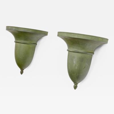 French neo classical refined tole sconces with a green antique patina