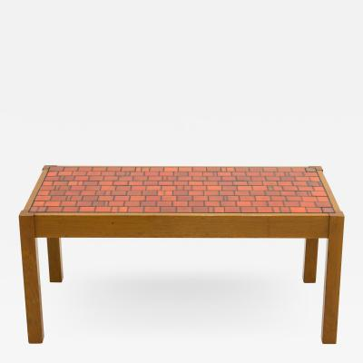 French oak wood and red ceramic coffee table 1960s