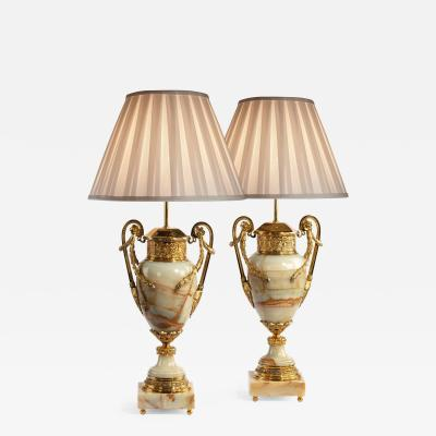 French onyx and ormolu lamps