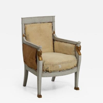 French or Italian bergere with guilted carvings circa 1805