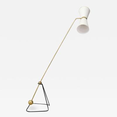 French pendulum Mid Century floor lamp in brass and fabric 1960s