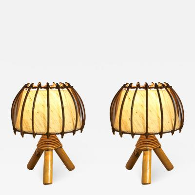 French riviera charming bamboo pair of table lamps