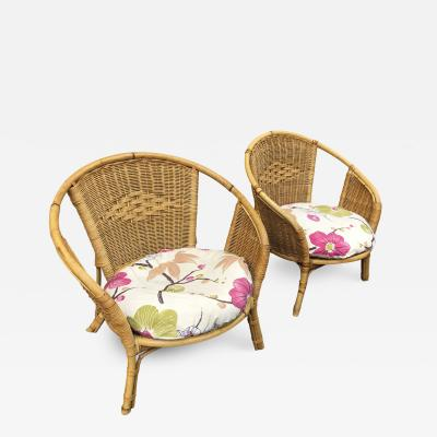French riviera pair of charming rattan lounge chairs
