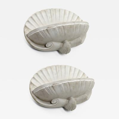 French riviera shell shaped pair of plaster sconce