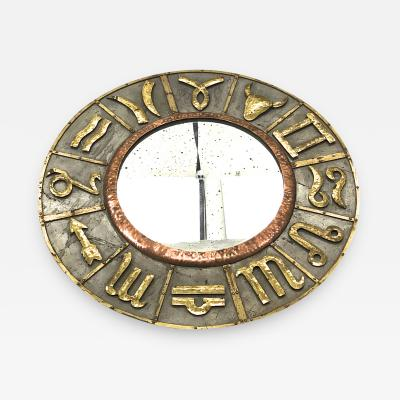 French riviera zodiac sign vintage mirror in iron and copper oxidized design