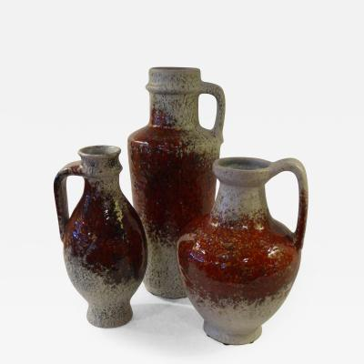 Friedegart Glatzle 1960s Karslruhe German Pottery Group Oxblood Glaze by Friedegart Glatzle