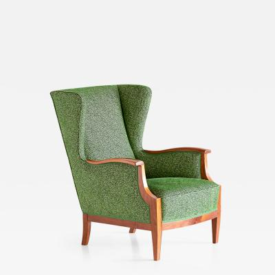 Frits Henningsen 1930s Frits Henningsen Wingback Chair Newly Upholstered in Rubelli Fabric