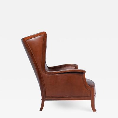 Frits Henningsen 1940s Frits Henningsen attribution Wing back mahogany armchair