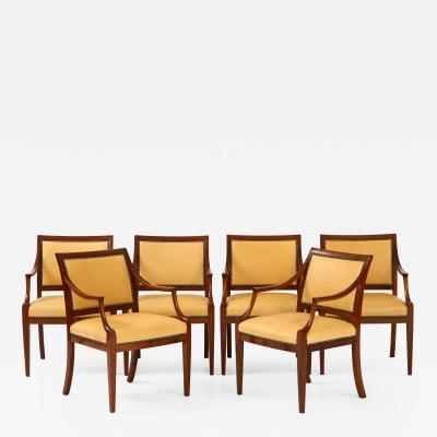 Frits Henningsen A Set of Six Danish Mahogany Open Armchairs by Frits Henningsen Circa 1940s
