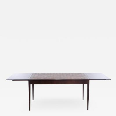 Frits Henningsen FRITS HENNINGSEN ROSEWOOD AND TILE DINING TABLE