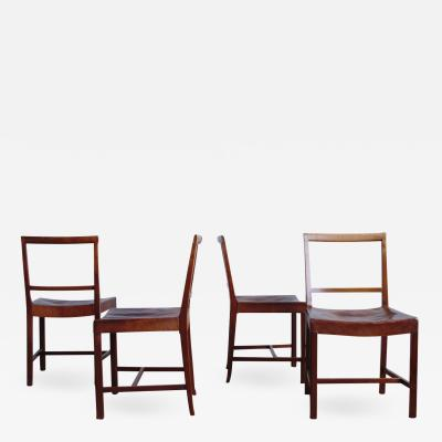 Frits Henningsen Four Frits Henningsen Dining Chairs with Original Leather Seats