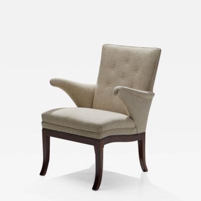 Frits Henningsen Frits Henningsen Armchair Upholstered in Linen Denmark 1950s 60s