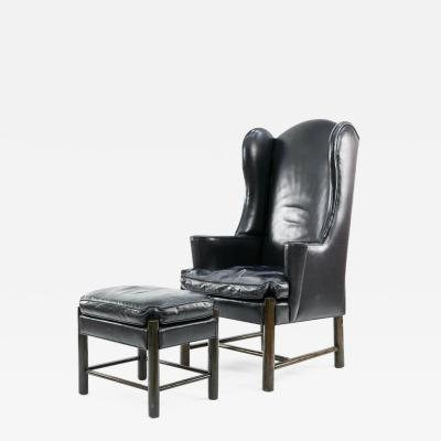 Frits Henningsen Frits Henningsen Style Leather Wingback Chair and Ottoman