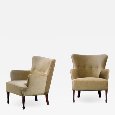 Frits Henningsen Frits Henningsen pair of green velour easy chairs
