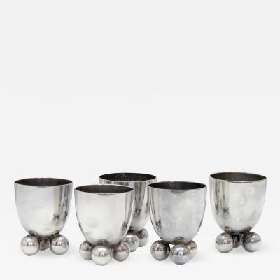 Fritz August Breuhaus de Groot Set of Five WMF Silver Egg Cups