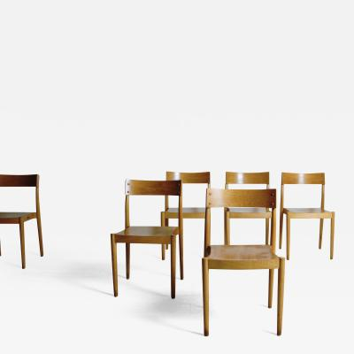 Fritz Hansen 6 Stacking Chairs by Peter Hvidt and Orla M lgaard Nielsen for Fritz Hansen