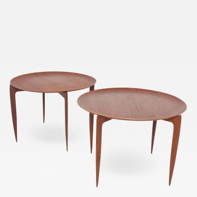 Fritz Hansen FRITZ HANSEN Denmark model 4508 Teak Folding Tray Side Table Set of Two