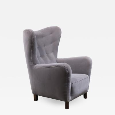 Fritz Hansen Fritz Hansen High Wingback Grey Velour Lounge Chair Denmark 1940s