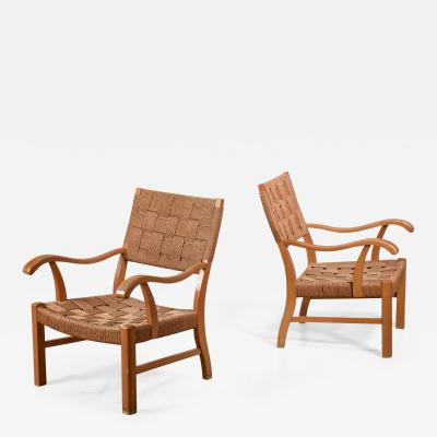 Fritz Hansen Fritz Hansen beech and seagrass chairs Denmark 1930s