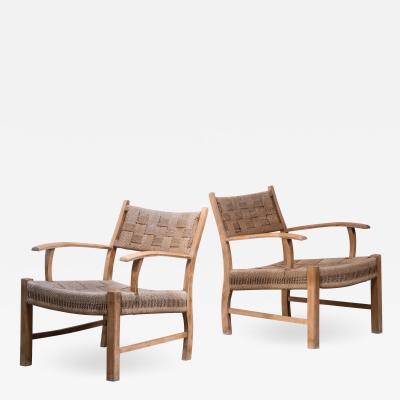 Fritz Hansen Fritz Hansen pair of beech and seagrass chairs