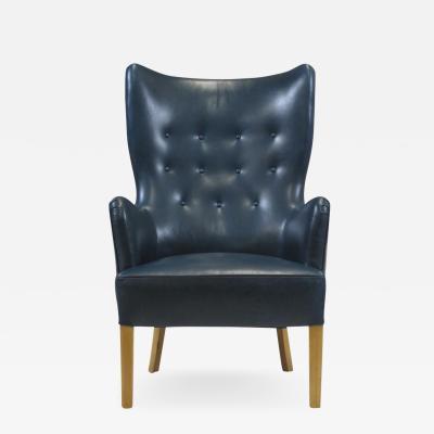 Fritz Hansen Ole Wanscher Highback Chair for Fritz Hansen 1946 in Teal Leather