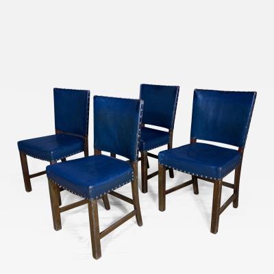 Fritz Hansen Set Four 1940s Fritz Hansen Blue Leather Dining Chairs Denmark