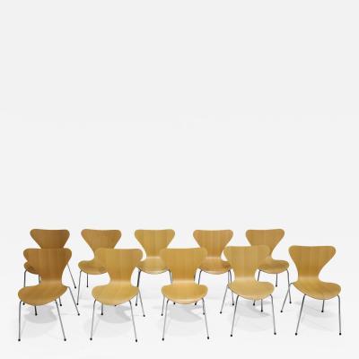 Fritz Hansen Ten Fritz Hansen Series 7 Chairs in Maple Sold in Pairs