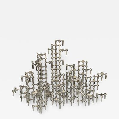 Fritz Nagel Set of 100 Piece Modular Candlestick Sculpture by Fritz Nagel and Caesar Stoffi