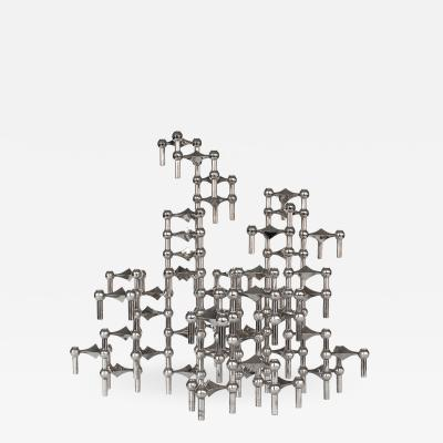 Fritz Nagel Set of 56 Piece Modular Candlestick Sculpture by Fritz Nagel and Caesar Stoffi