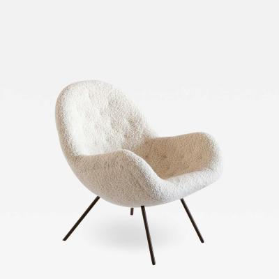 Fritz Neth Fritz Neth Egg Shaped Lounge Chair in Ivory Dedar Boucl Correcta Kassel 1950s