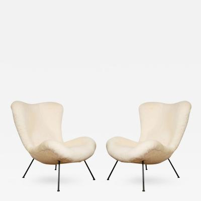 Fritz Neth Fritz Neth Pair of Chairs Newly Covered in Raw White Wool Teddy Bear Cloth