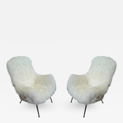 Fritz Neth Fritz Neth Pair of Comfy Lounge Chairs Newly Covered in Sheep Skin Fur