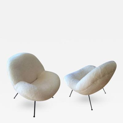 Fritz Neth Fritz Neth Spectacular Pair of Egg Chairs Reupholstered in Ecru Faux Fur