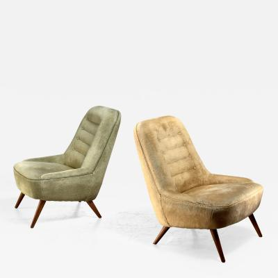 Fritz Neth Pair of German velour club chairs 1950s