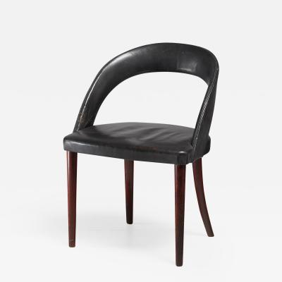 Frode Holm Frode Holm Rosewood and Black Leather Vanity Chair Denmark 1950s