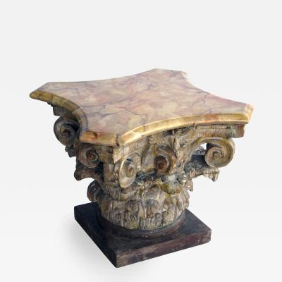 From the Tony Duquette Collection Corinthian Capital with Faux Marble Top
