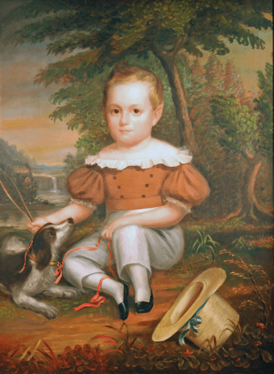 Full Length Portrait of a Young Boy with His Dog
