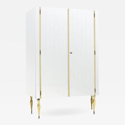 Fully Front Mirrored Asymmetric Wardrobe with Brass Legs Germany 1960s