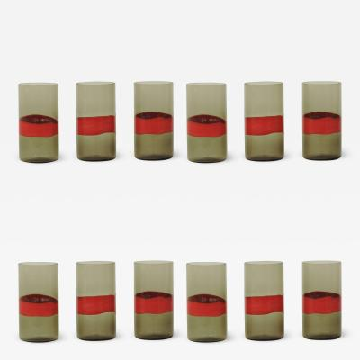 Fulvio Bianconi Fulvio Bianconi set of 12 drinking glasses for Venini Italy 1950s