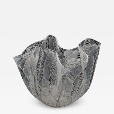 Fulvio Bianconi Vintage Venini Murano Fulvio Bianconi Handkerchief Zanfirico Blown Glass Vass