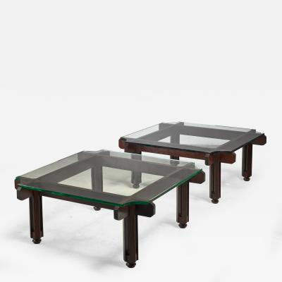 Fulvio Raboni Fulvio Raboni pair of wood and glass coffee table Italy
