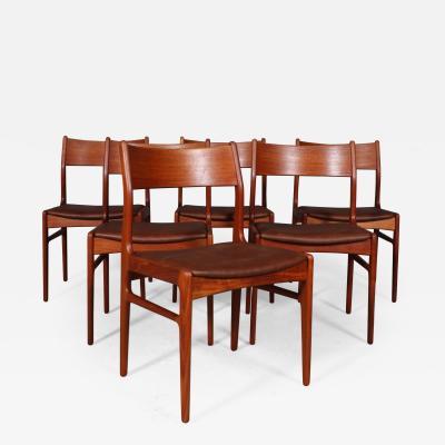 Funder Schmidt and Madsen Funder Schmidt and Madsen Funder Schmidt Madsen Six dining chairs teak 1960s 6