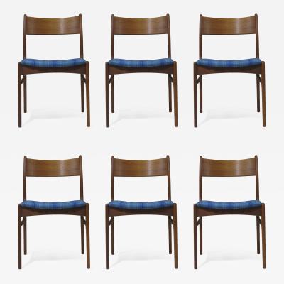 Funder Schmidt and Madsen Funder Schmidt and Madsen Funder Schmidt and Madsen Teak Dining Chairs in Blue Wool Set of 6